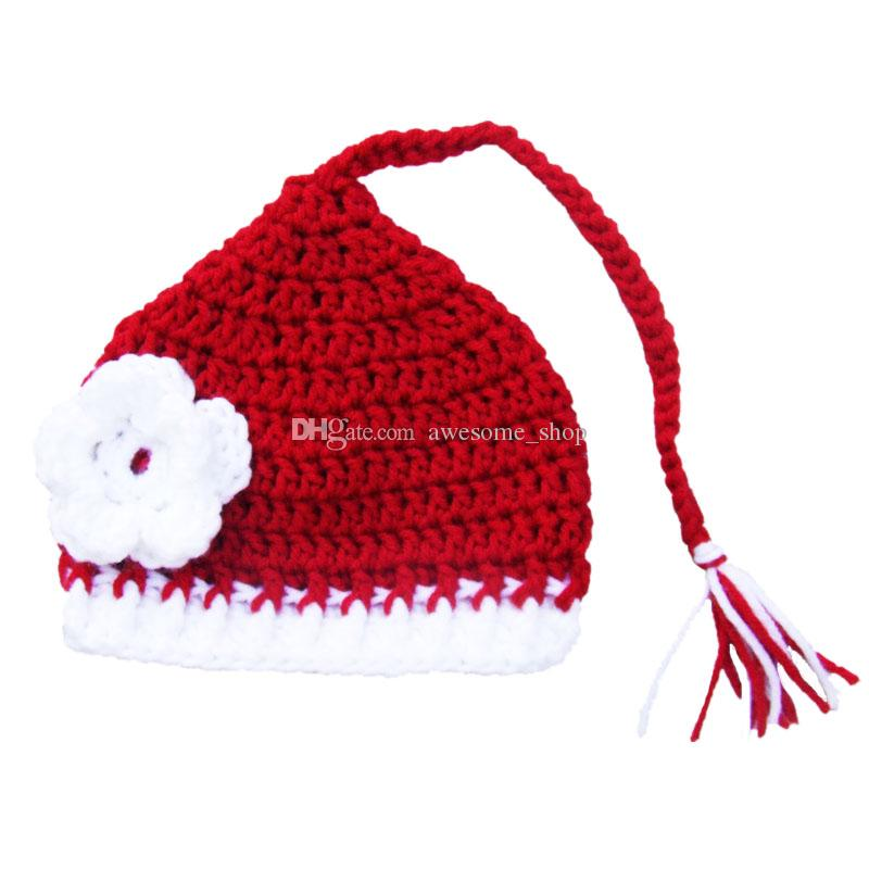 Crochet Baby Santa Elf Hat,Handmade Knit Baby Girl Red Christmas Hat with Flower,Kids Spring Winter Beanie,Infant Newborn Photo Prop