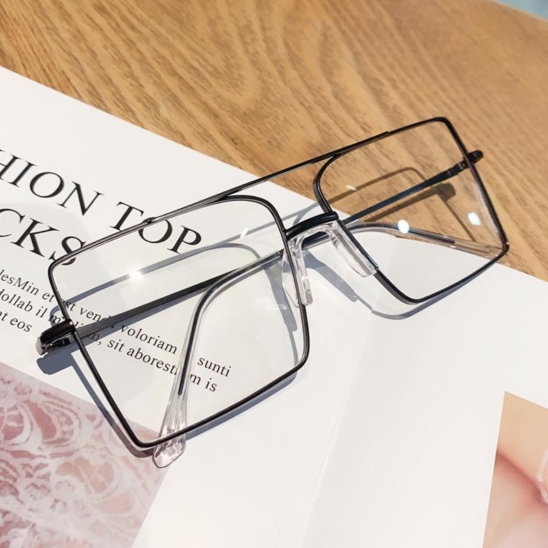 Anti-azzurre fascio doppi vetri chiari quadrati per occhiali in lega da donna del computer di grandi dimensioni occhiali uomini tonalità oro