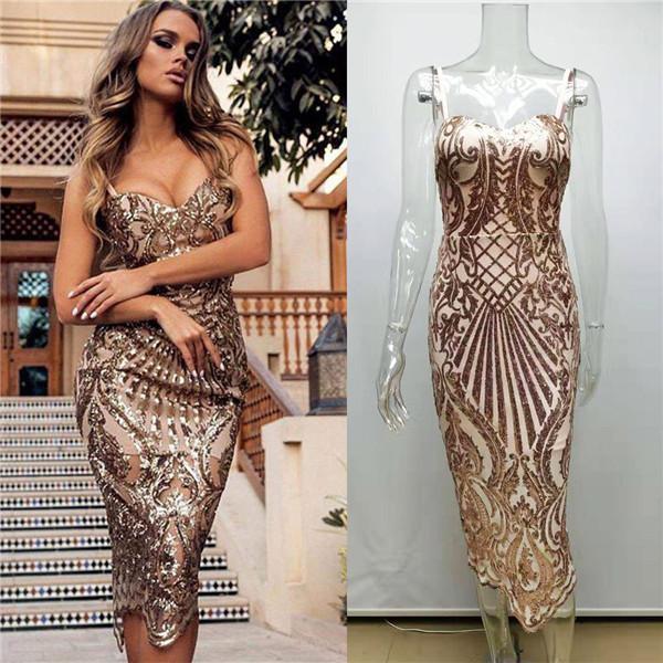 Sexy Frauen Pailletten-Partei-Kleider Mode-Spaghetti-Bügel Backless V-Ausschnitt-Kleid 20ss Frauen Designer-Kleider