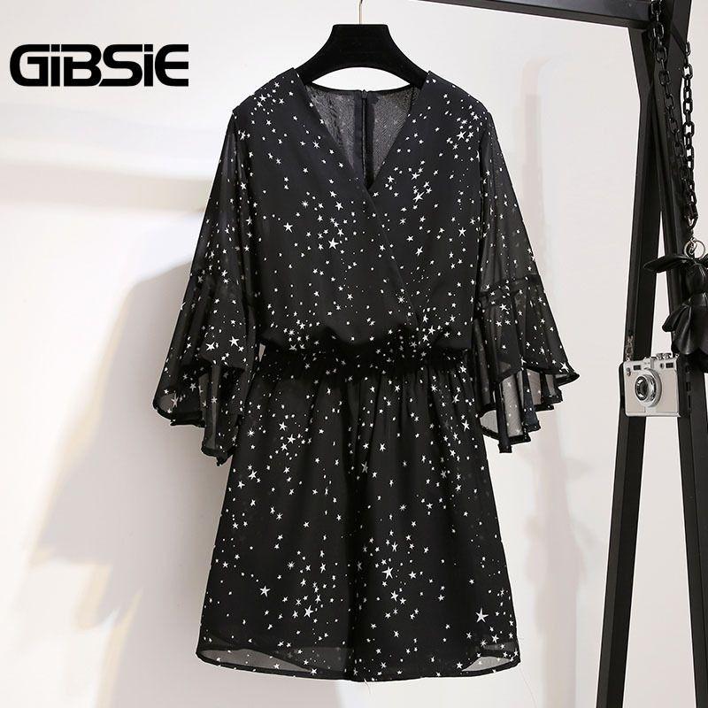 Gibsie Plus Size Women Clothing High Waist Chiffon Print Romper Jumpsuit 5xl 4xl Summer Women V-neck Half Sleeve Beach Playsuit Y19071801