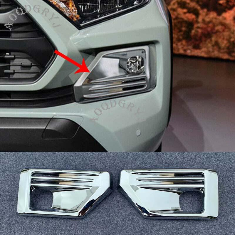 Car Styling Accessories ABS Chrome Front Fog Light Lamp Molding Cover Trim 2pcs For Toyota RAV4 TRD 2019-2020