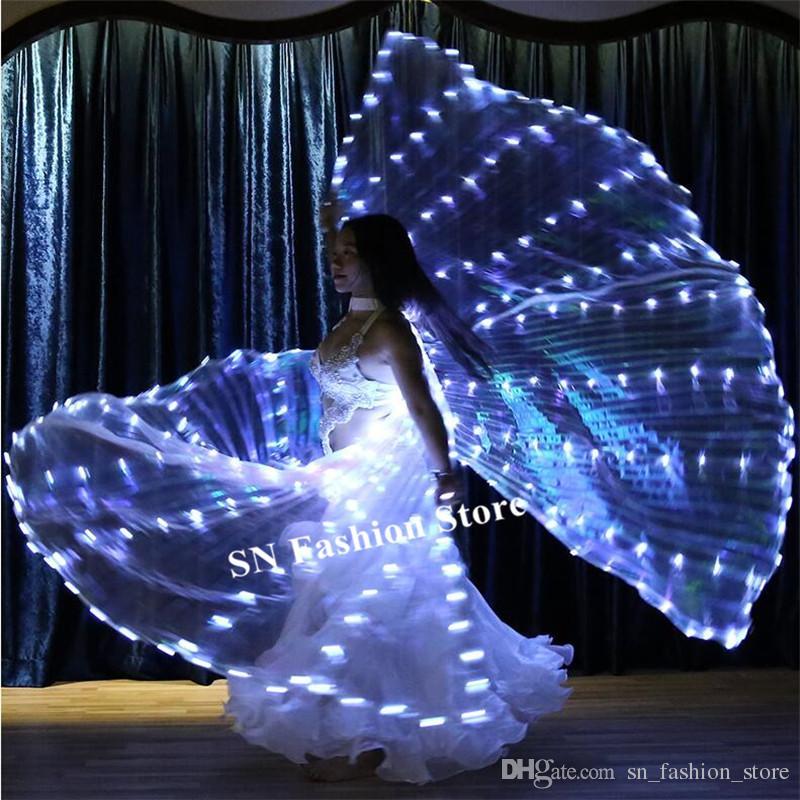 P01 Ballroom dance led cloak Split white wings bellydance stage luminous led costumes perform wears dress butterfly party show catwalk wears