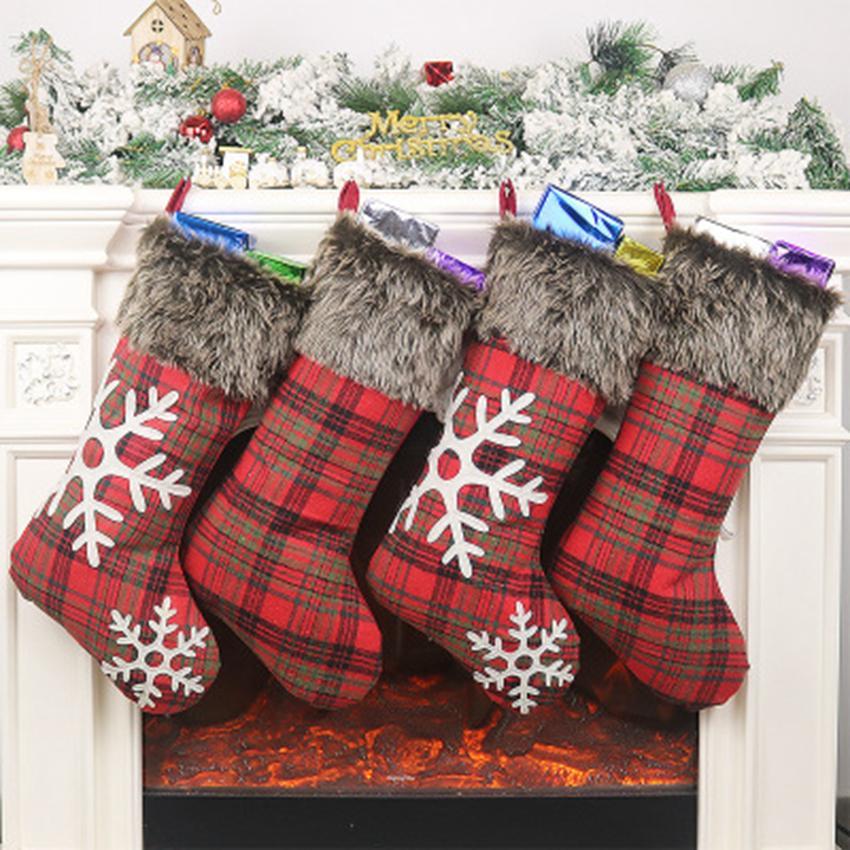 Meias do Natal Decor ornamento partido das árvores de Natal Decorações Stocking Meias doces do Natal de Santa Bolsas Xmas Gifts Bag ZZA1175