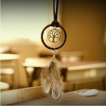 Mini Dreamcatcher Handmade Dream Catcher Net With Feather Decoration Car Keychain Ornament Gift Free Shipping SN293