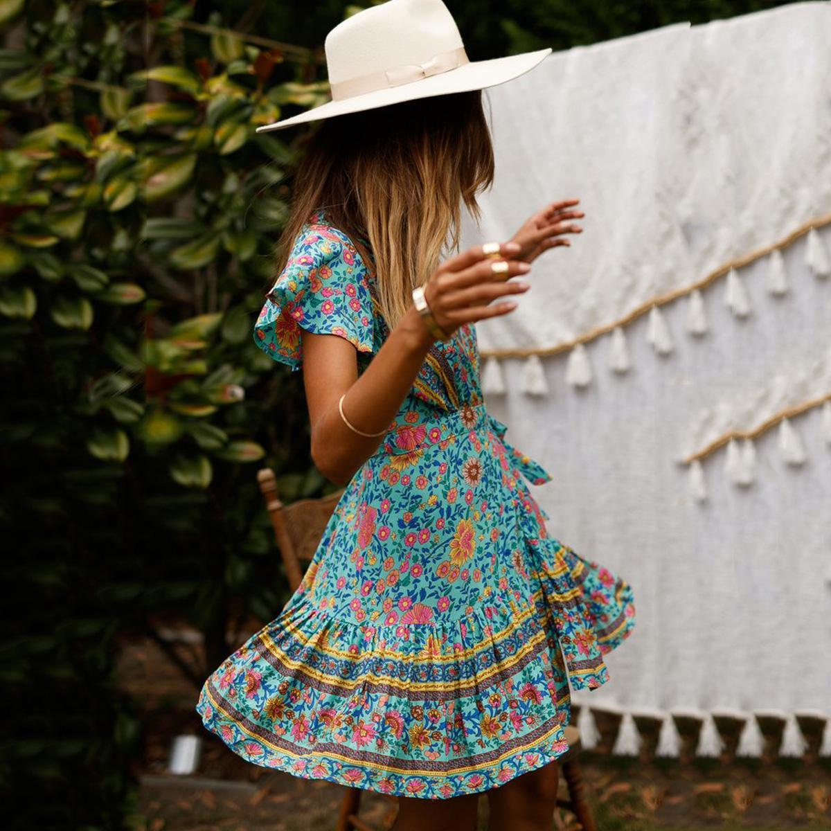 فستان المرأة المرأة الملابس الفيروز متعدد مطبوعة البسيطة V الرقبة التفاف فساتين المرأة عادية الكشكشة الهبي أنثى Vestidos 2019