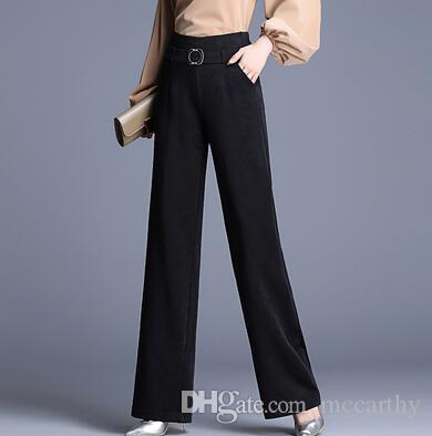 Nouvelle mode OL printemps automne taille haute pantalon femmes droites taille plus noir taille élastique rouge vert capri sy50906 femme