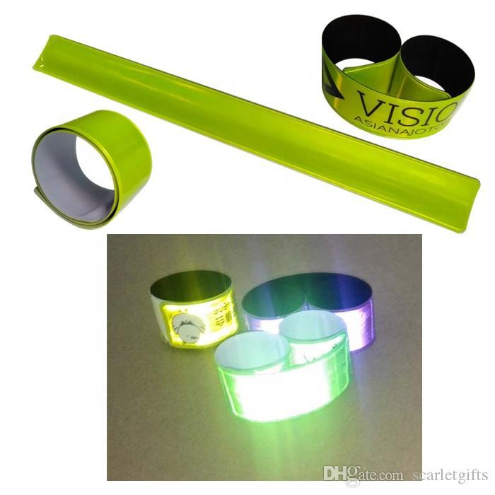 PVC-Partei-Armband kundenspezifisch personalisiert hoch sichtbares buntes Snap-on Armarmbandarmband reflektierende Armbinde, die sicheres Band mit Logo radfährt