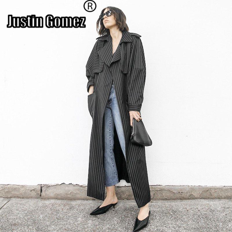 Avrupa Tasarım Rahat Şerit Uzun Kollu Yaka Patchwork Dış Giyim Hafif Maxi moda Kadınlar uzun siper giyim SH190906