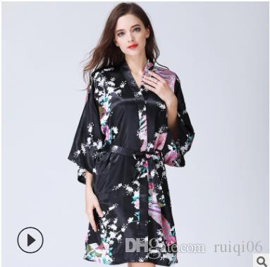 Seda Satén Boda Novia Dama de honor Floral Albornoz largo Kimono Noche Bata de baño Moda bata para mujeres S1015