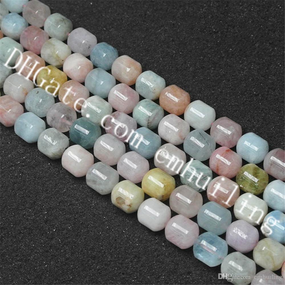 5 fili di bellezza forma cilindro naturale multicolore Morganite pietra preziosa branelli allentati, lunghezza 38cm-8 * 10mm, 10x12mm, 12 * 14mm Scegli dimensioni Fine qualità