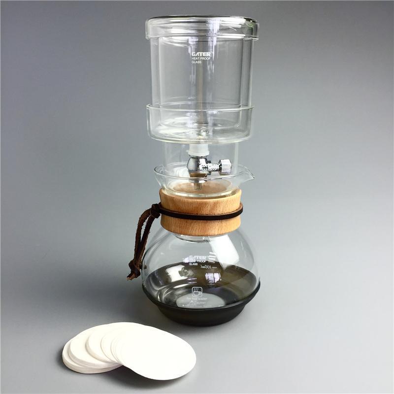 400ml Iced Chá de vidro Ice Drip Coffee Pot Percolator Set v60 Ice Coffee Dripper vidro Filtros de frio Brew máquina de espresso