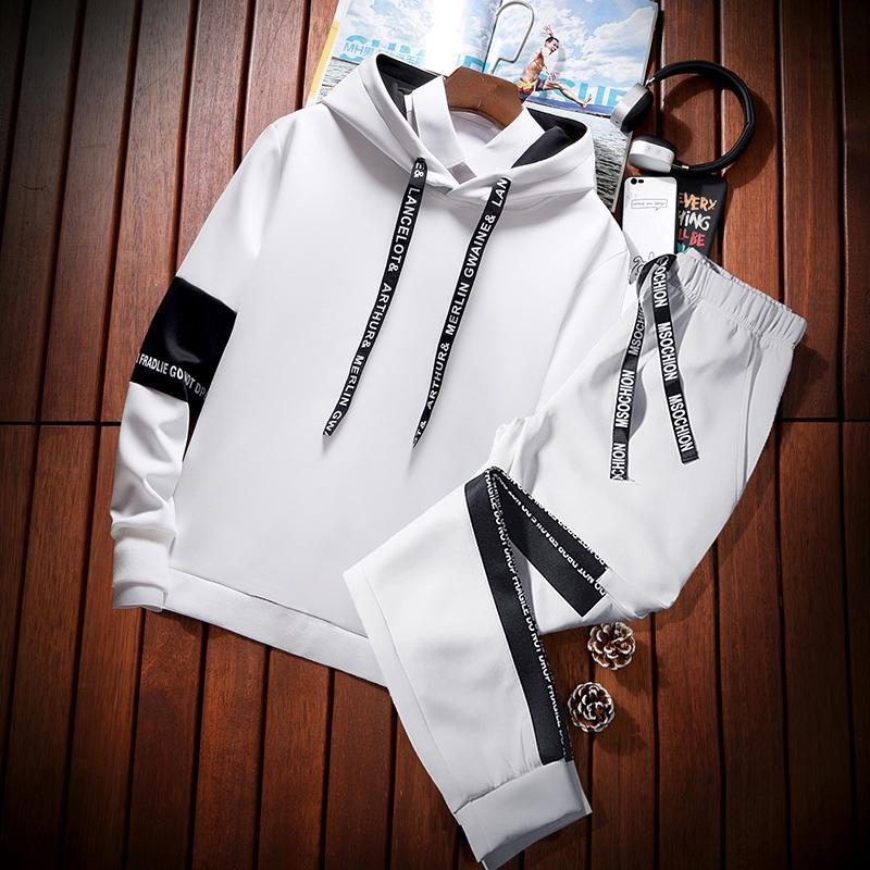2019 Mens Costume Mode Sport d'hiver Sweat Vêtements Survêtement Veste à capuche Costume Hommes Casual Outfit Sportwear Hommes Manteau JJ60NT