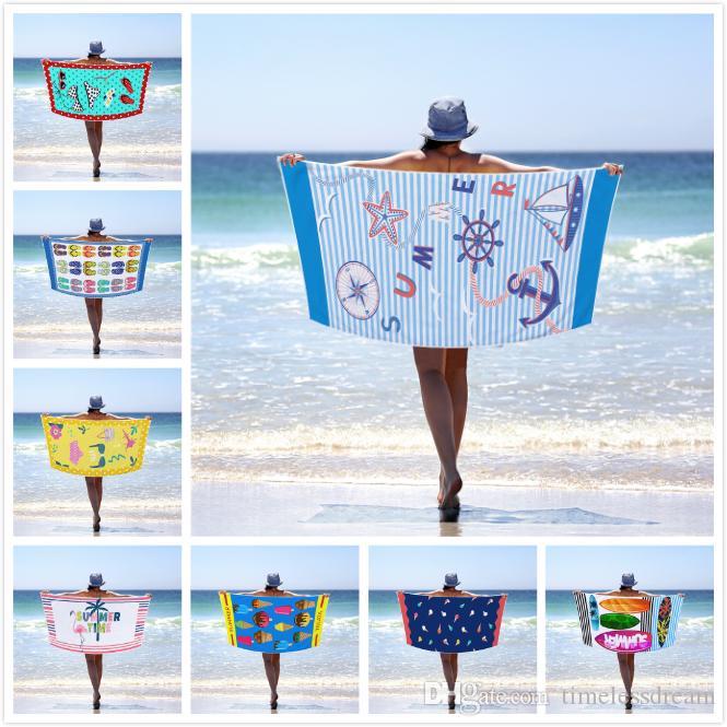 Красочные пляжное полотенце Retangle Полотенце Microfiber Одеяло Плавание Полотенца Печатный Adult Полотенце лист шаблон Спорт Полотенца