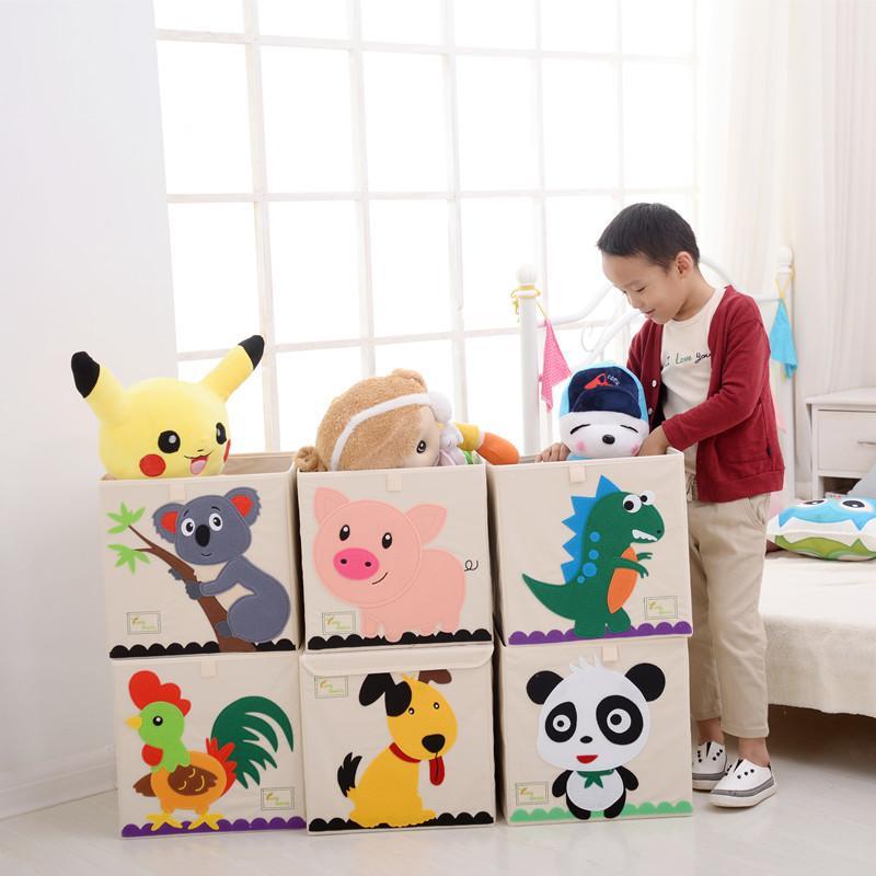 New 3D toy storage Box Cartoon Animal Folding Storage Bins Wardrobe drawer organizer clothes storage basket kids toys organizer T200104