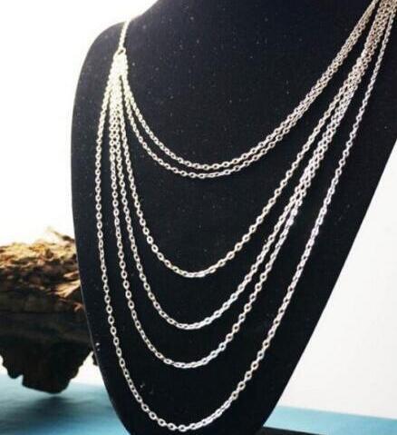 Multi forman Capa 6 Capa larga borla Collar Gargantilla de plata vendimia de la declaración del collar del collar joyería de los colgantes mujeres Amistad 20PCS