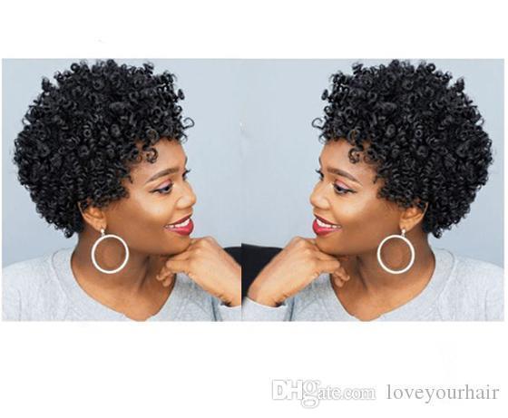 NUEVA llegada suave pelo brasileño africano Ameri corte corto rizado rizado natural peluca simulación cabello humano negro rizado peluca para mujeres