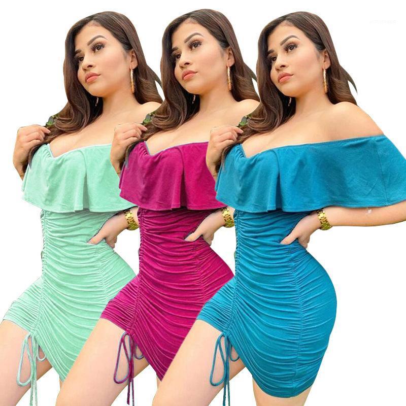 Abiti Moda Abbigliamento Donna Estate progettista delle donne del partito dei vestiti sexy Slash collo solido di colore Pieghe signore