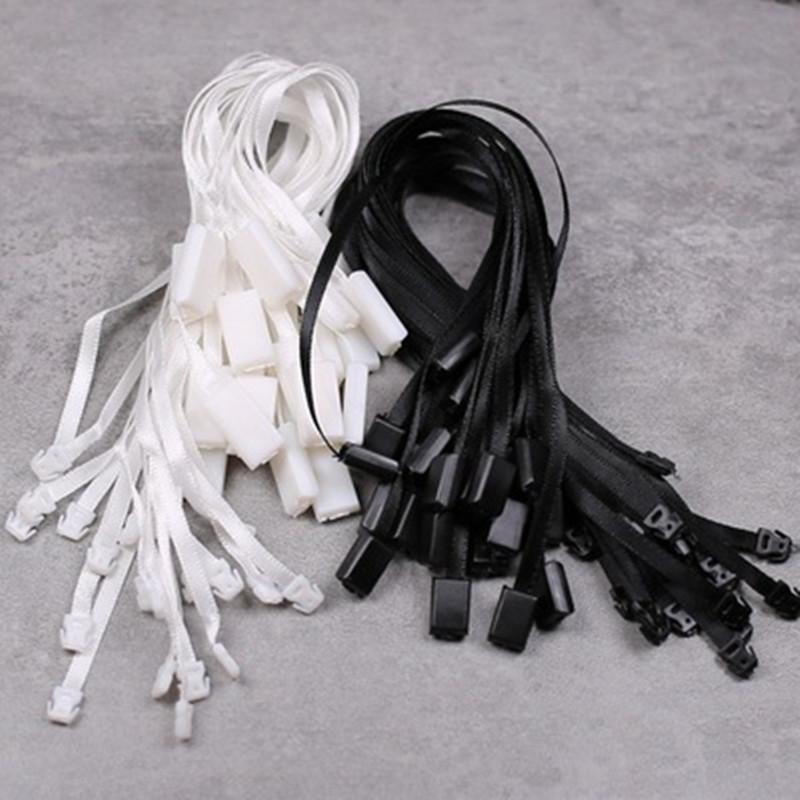 980pcs ropa cuerda etiqueta de la cinta de seda vestido de la cuerda de la etiqueta del sello Cadena plástica de la ropa etiquetas colgantes Snap pasador de bloqueo bucle cierre de gancho Lazos Accesorios