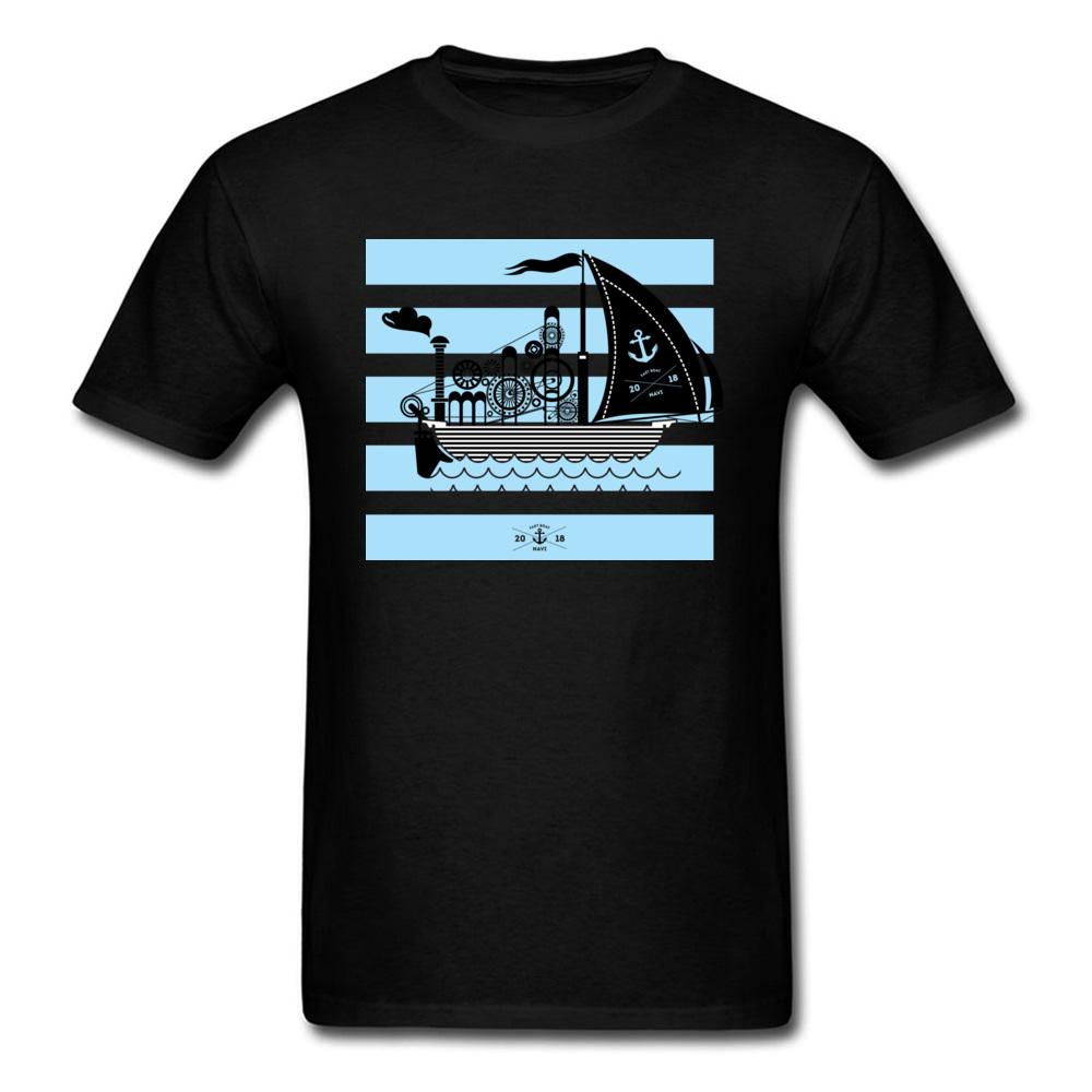 2018 Viento En Popa Men Birthday Gift T-shirt Casual Summer Ship Blue Striped Black Tops & Tees Custom For Father's Day