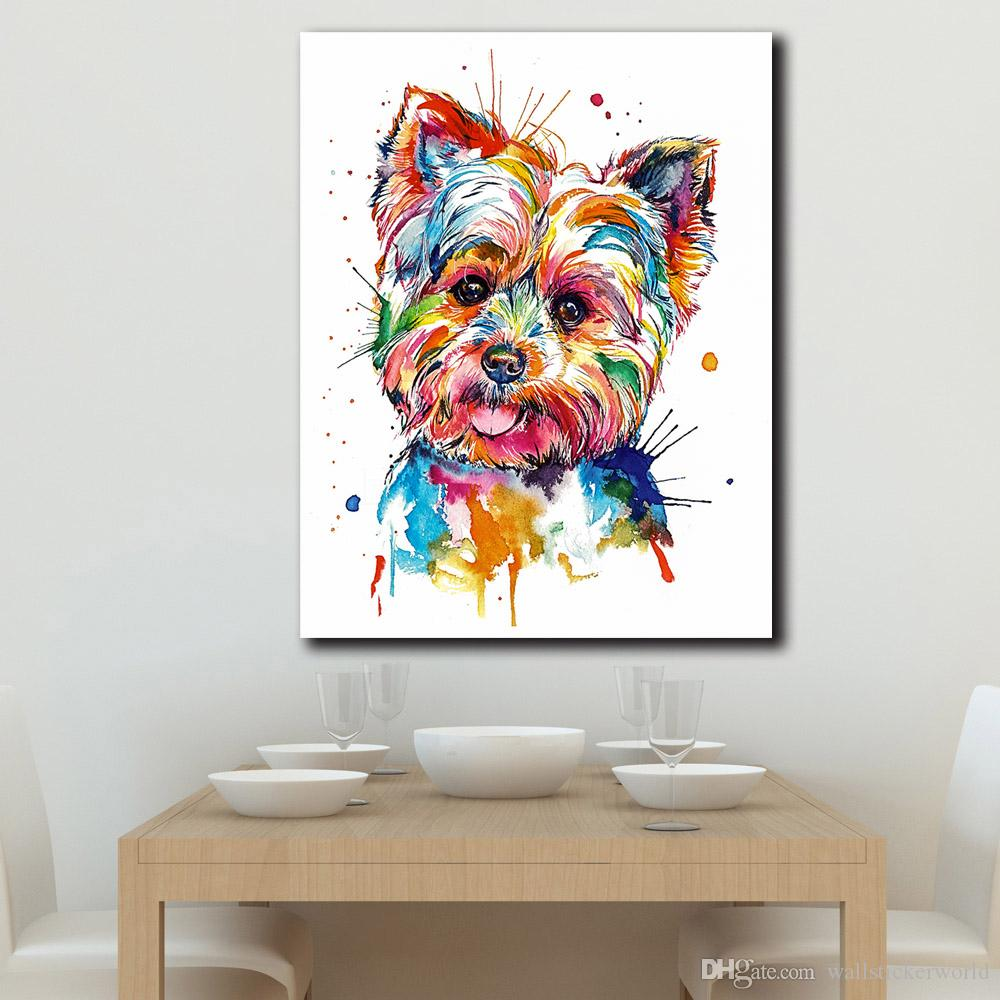 1 Piece Printed Animal Colorful Dog Oil Painting Wall Art Pictures For Living Room Home Decor Canvas Painting No Framed