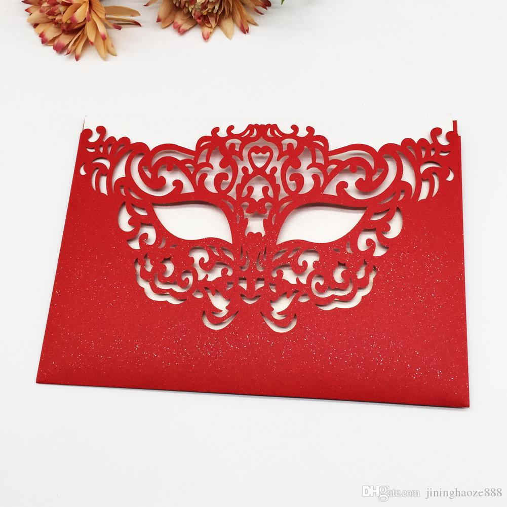 25pcs / lot Hollow Laser Cut Mask Pattern Envelope Wedding Invitation Cards Engagements Business Fancy Dress Invitation Cards