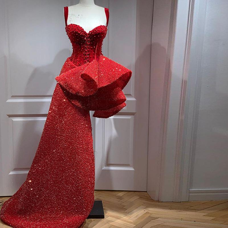 Red Sparkly High Low Evening Dresses Spaghetti Beaded Sequined Arabic Aso Ebi Prom Dresses Celebrity Reception Party Gowns