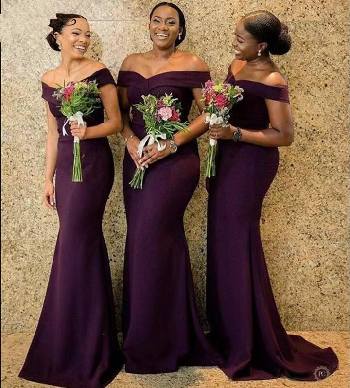 2020 Regency African Off The Shoulder Satin Long Bridesmaid Dresses Ruched Sweep Train Wedding Guest Maid Of Honor Dresses BC1288