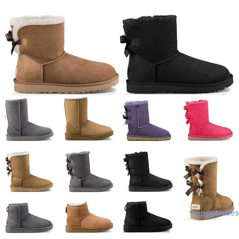 Neue Luxus-Designer-Frauen Pelzstiefel Australien klassischer Schnee Winter-Mode Knöchel kurze Stiefel schwarz Kastanie grau Bogen Größe 5-10