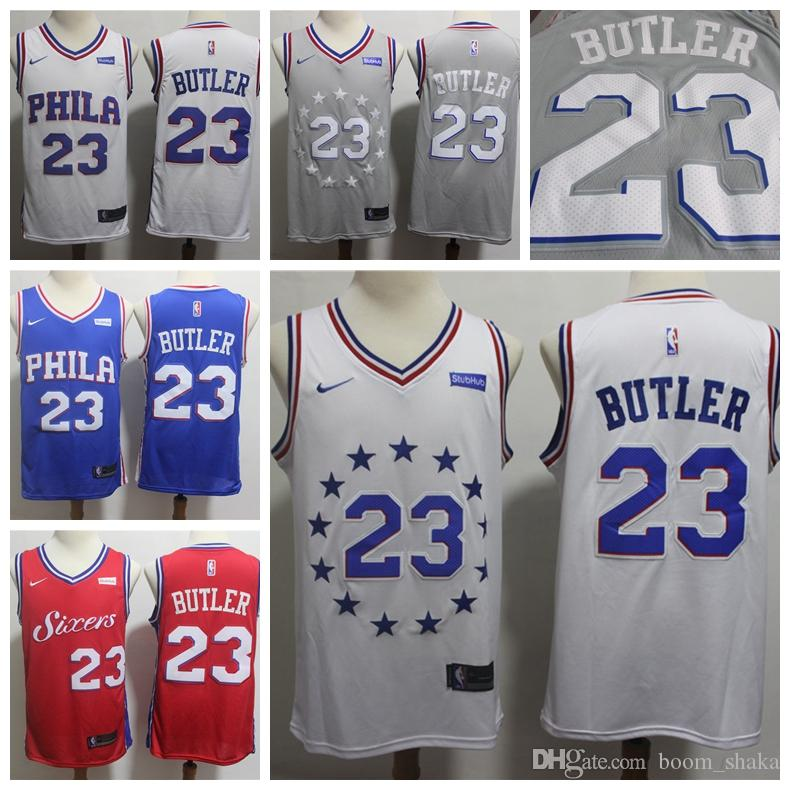 c94ab6d0 2019 Mens 23 Jimmy Butle Playoff White Jersey 76ers Basketball Jersey  Stitched New City Edition Jimmy Butler Jerseys 76ers Basketball Shorts