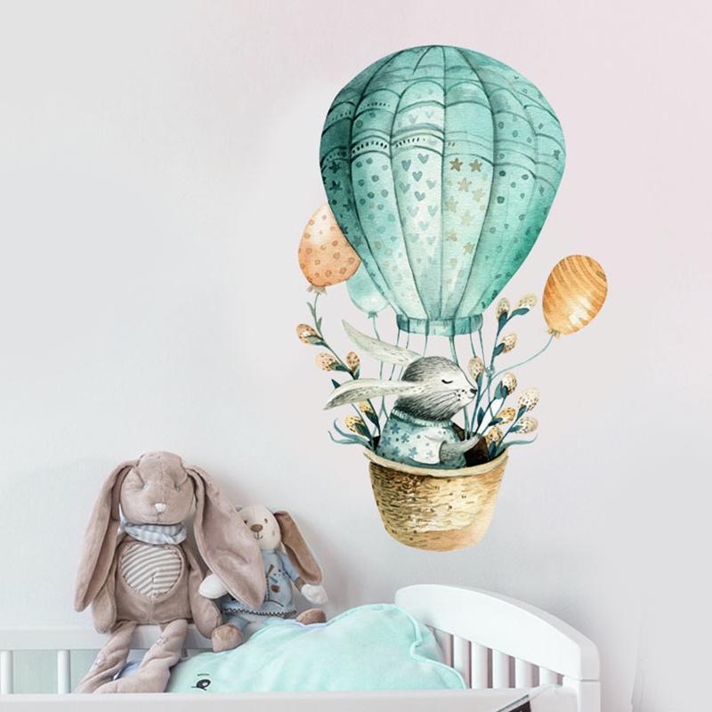 만화 벽 스티커는 아이 방을 장식 토끼 Hot Air Balloon 홈 북유럽 스타일의 수채화 그림 아기 방 Diy 예술 Q190426