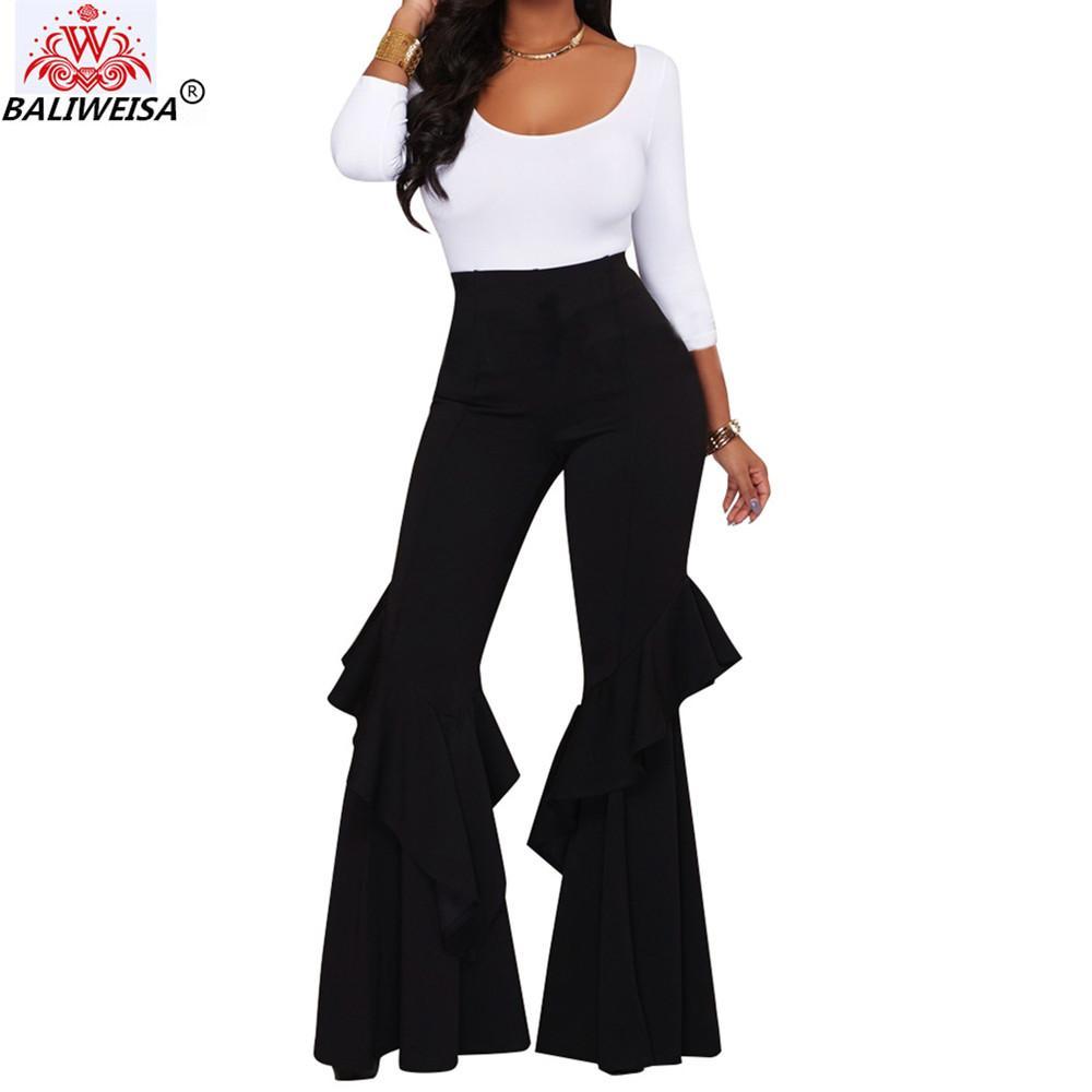 BALIWEISA Moda Çalışması Geniş Bacak Uzun Pantolon Bayan Şık Katı Renk Flare Pantolon Kadınlar Casual Gevşek Fermuar Yüksek Bel