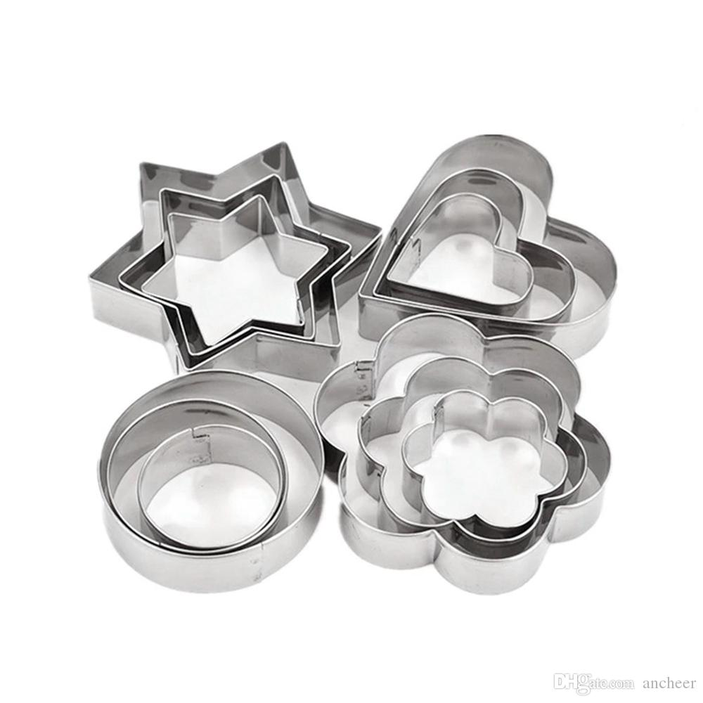 12 Pcs Cake Decorating Fondant Cutters Cookie Biscuit Egg Stainless Steel Mould Baking and Pastry Tools