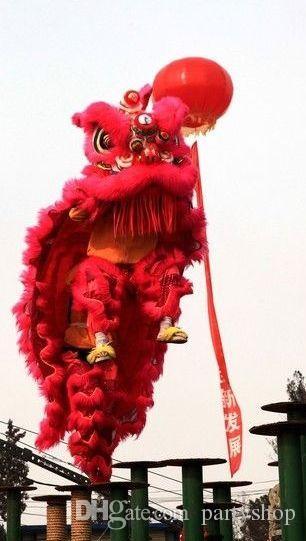 Eventos Rojo hecho a mano adulto Danza del león traje de la boda de la boda de lana pura León del Sur que realiza la etapa del juego Tamaño adulto Traje popular chino