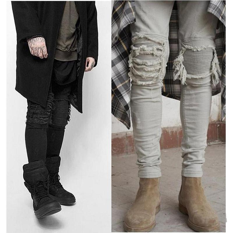 Hommes Biker Jeans Slim Straight Fit Distrressed Trou Streetwear Stretch Jeans Hip Hop Hommes Pantalons Plus Size 28-42
