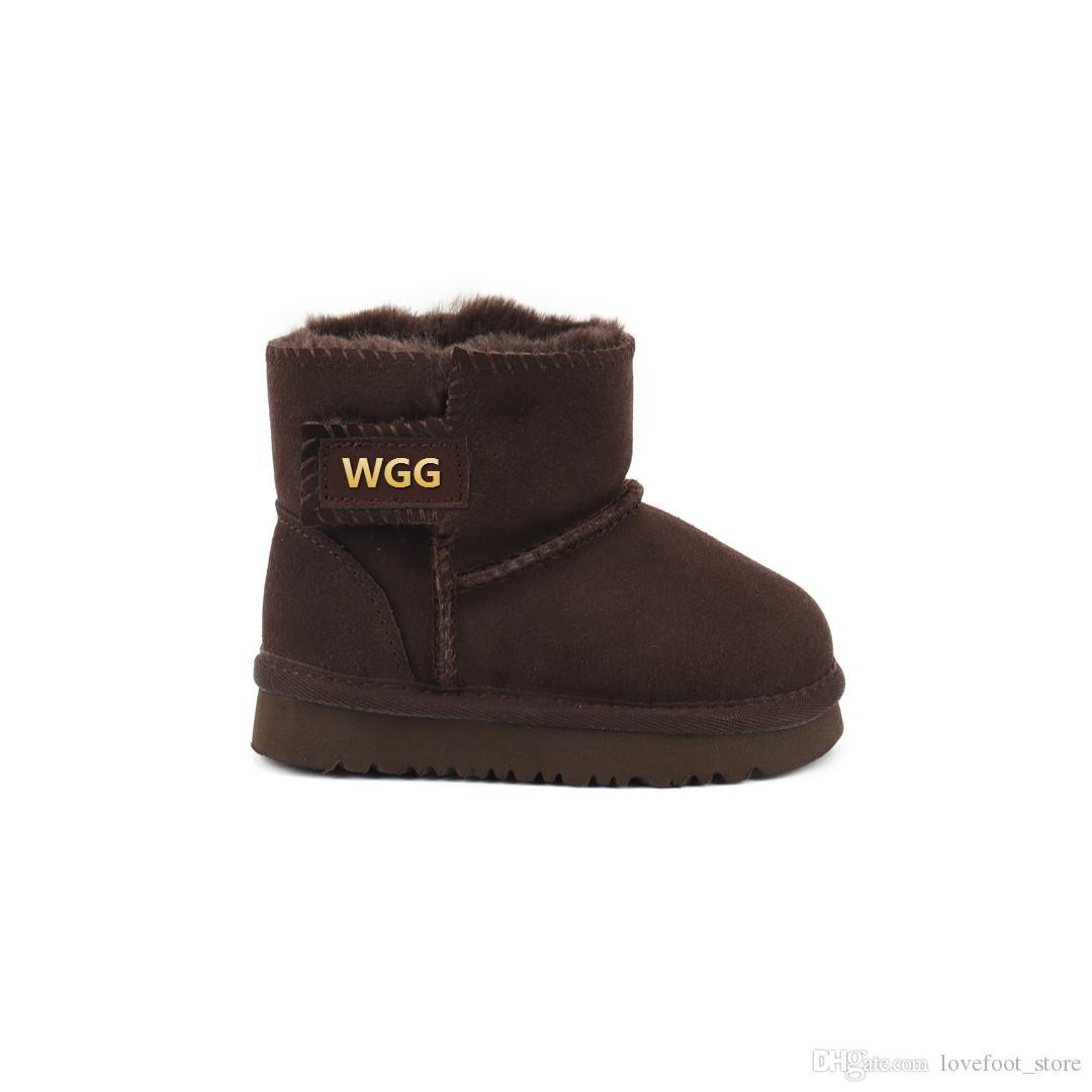 Горячая высокое качество копия WGG девушка Классические короткие сапоги мальчики сапоги дети загрузки детские дети снегоступы зимний ботинок кожаный ботинок падение доставка