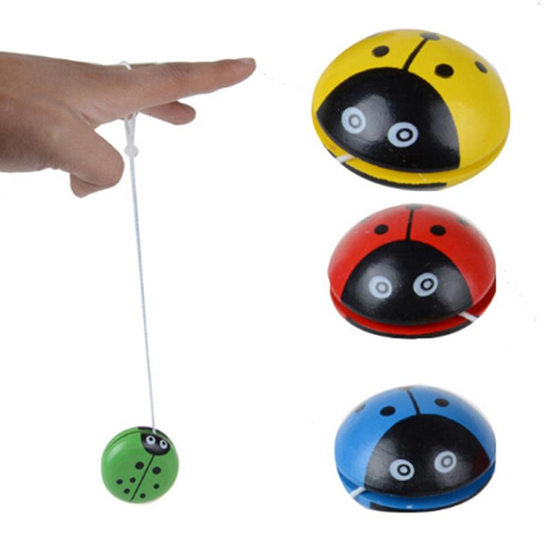 Wholesale 10 Pcs 3 Colors Ladybird Ball Creative Toys Wooden Yoyo For Children Baby Educational Hand-Eye Coordination Development