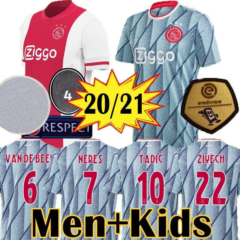 20 21 AJAX Amsterdam jersey de fútbol 2020 2021 PROMES ÁLVAREZ TADIC neres ZIYECH van Beek camisa de los hombres + niños de fútbol uniformes maillot de distancia