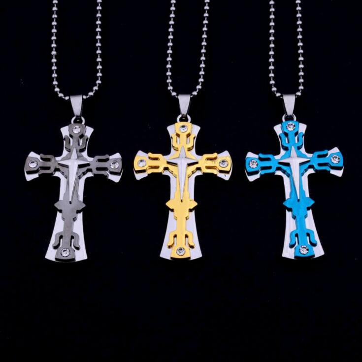 Three-layer cross necklace men's jewelry titanium steel biforked fork pendant speed sell through hot style bead chain wholesale