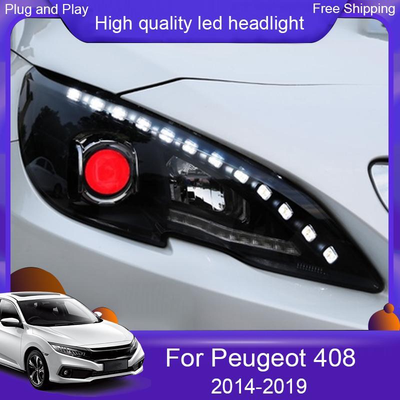 Peugeot 408 Headlights Peugeot TÜM LED Far DRL Gündüz ışık Mercek Çift Işın araç şekillendirme için 2014-2019 için Araç far