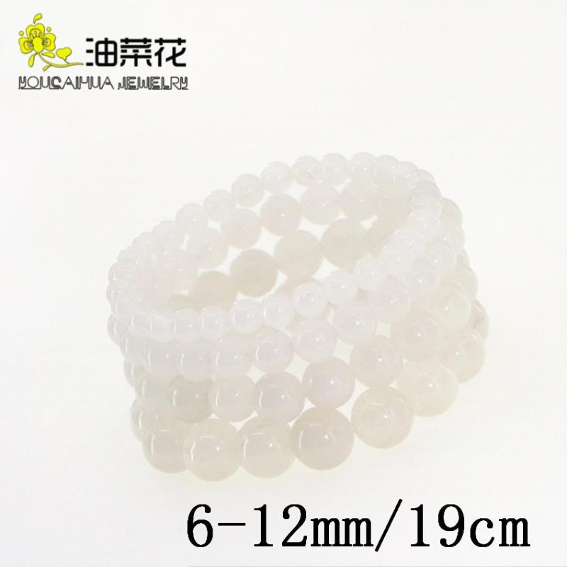 Simple Natural Stone 6-12mm Round Loose Beads Bracelet Gems White Jades Woman Man Yoga Accessories Christmas Wedding Gift 19cm