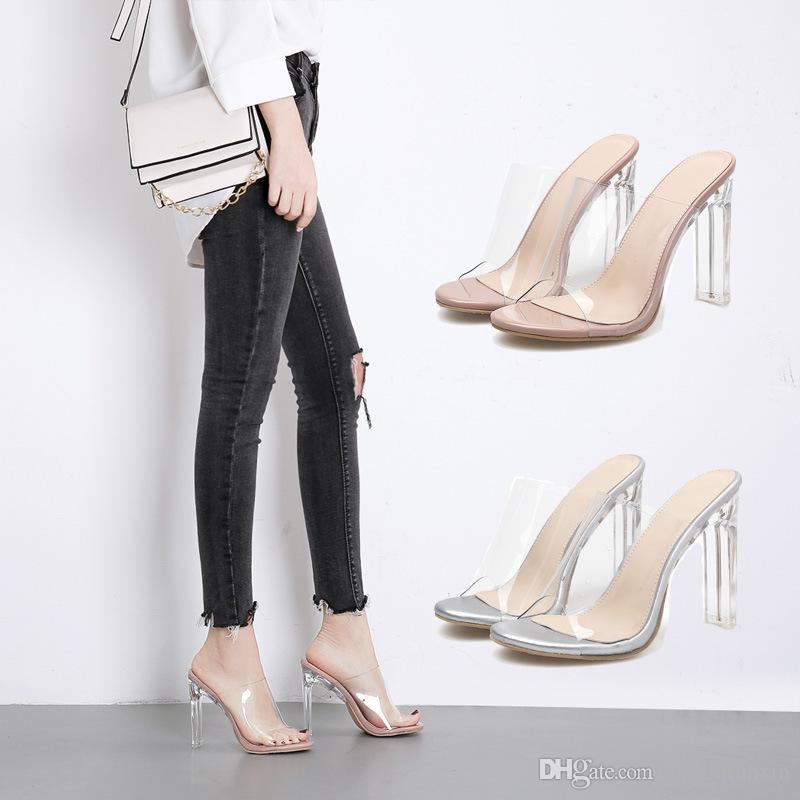 Bombas de sandalias de mujer atractiva transparente de 12 cm grueso del alto talón zapatos de lujo de plexiglás damas diapositivas femeninos mulas pvc calzado peep toe