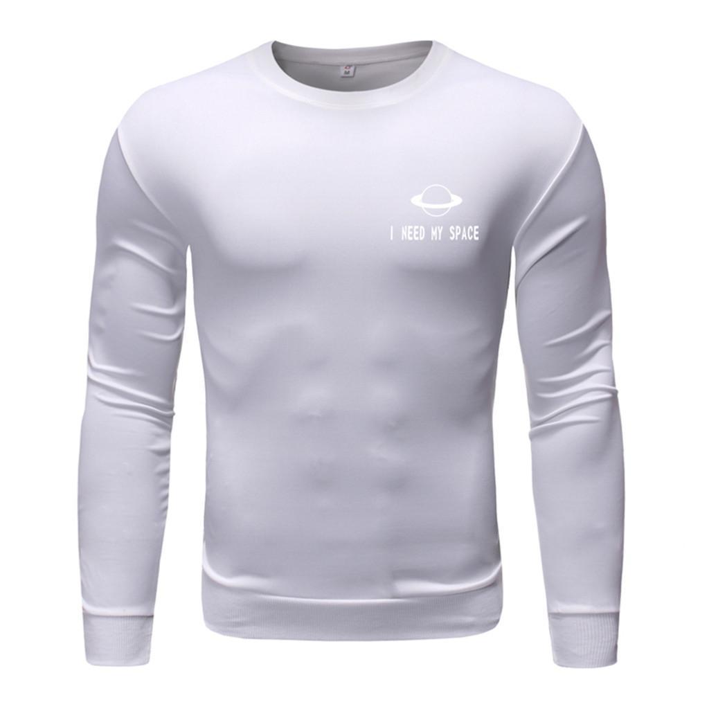 2019 Neue Herrenmode Langarm Rundhals Shirts Übergroße Frühling Herbst Streetwear Einfarbendruck Tops Bluse YL4