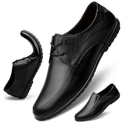 negócios de couro sapatos casuais preto fundo macio Oxford sapatos masculinos Outono nova rodada toe strap trabalho