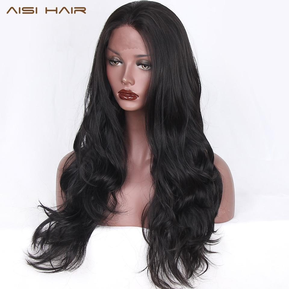 Haar-synthetische Spitze-Perücken (Für) AISI Haare schwarz gewellte lange Perücke Synthetische Lace Front Perücken für schwarze Frauen natürlicher Teil