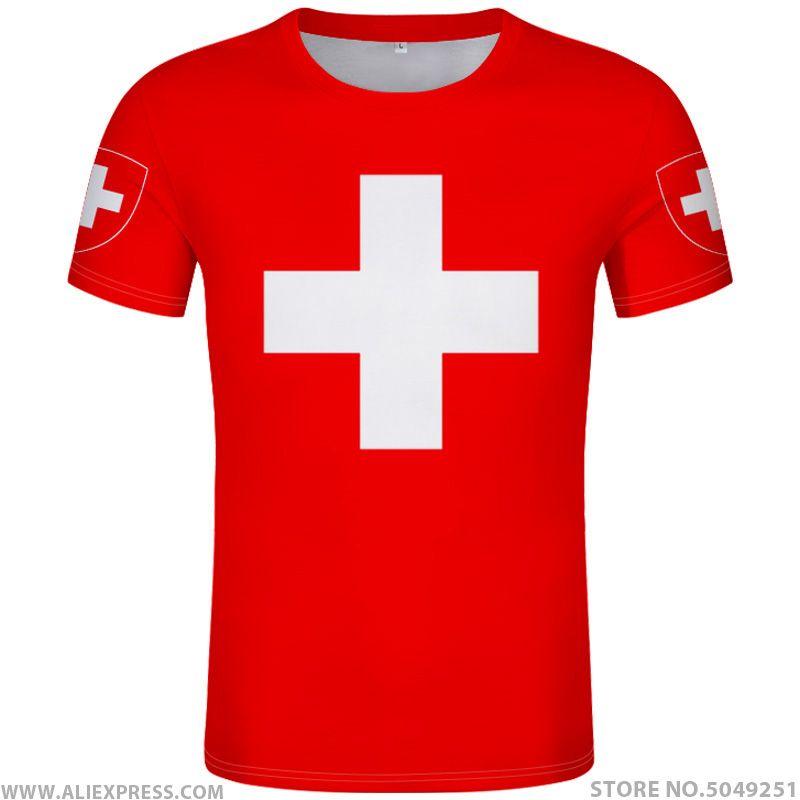 maglietta SVIZZERA fai da te su misura numero nome ha creato T-shirt del Che libera bandiere nazione ch Tedesco Paese collegio abbigliamento stampa fotografica rosso