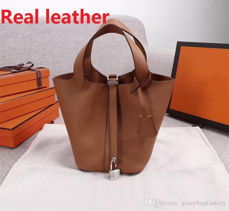 torba tasarımcısı alışveriş% 100 gerçek deri yeni omuz çantaları deri kova çanta kadın kilit ile yüksek kalitede Çapraz Vücut handbags