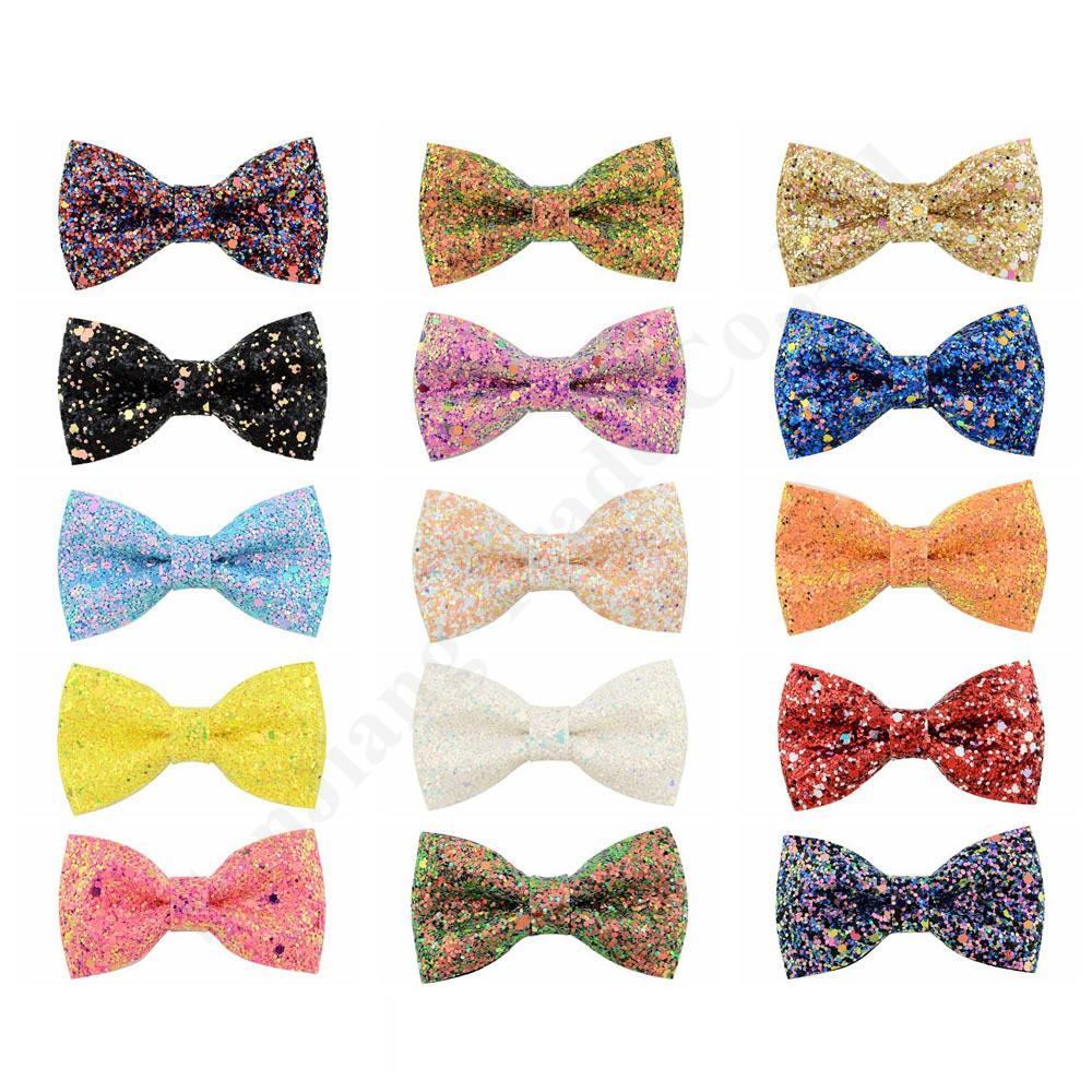 Carino Clip Bow-Knot capelli pelle ragazze Barrettes Glitter Paillettes PU Accessori per capelli Colore PU glitter bambini tornante 16 colori C121007