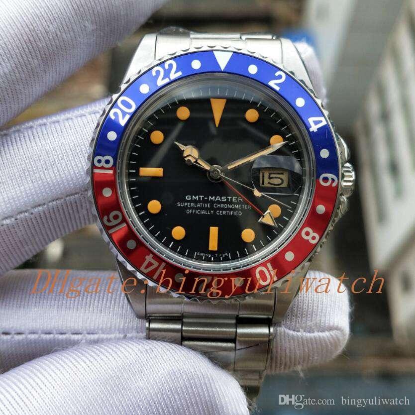 BP antica fabbrica Edition R-GMT Ref.1675 40MM Vintage Asia 2813 Movimento automatico di cristallo uomini guardare Classic Chiusura rosso blu lunetta in alluminio