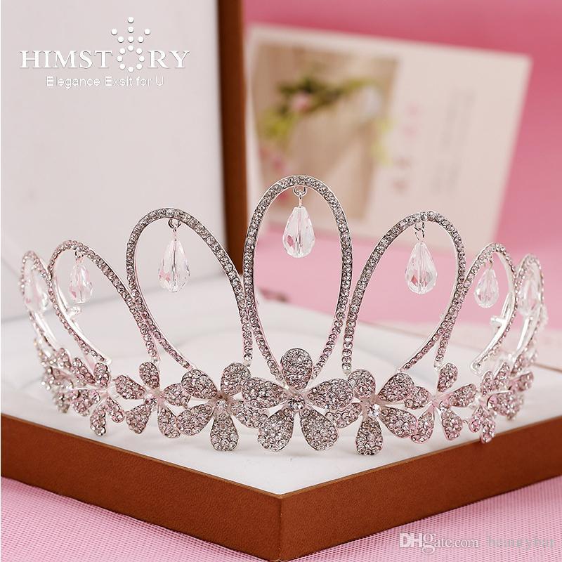 Himstory boda delicado tiaras Corona Novias Tocados niña gota pendientes de la corona de la tiara vendas de la flor diadema del ro