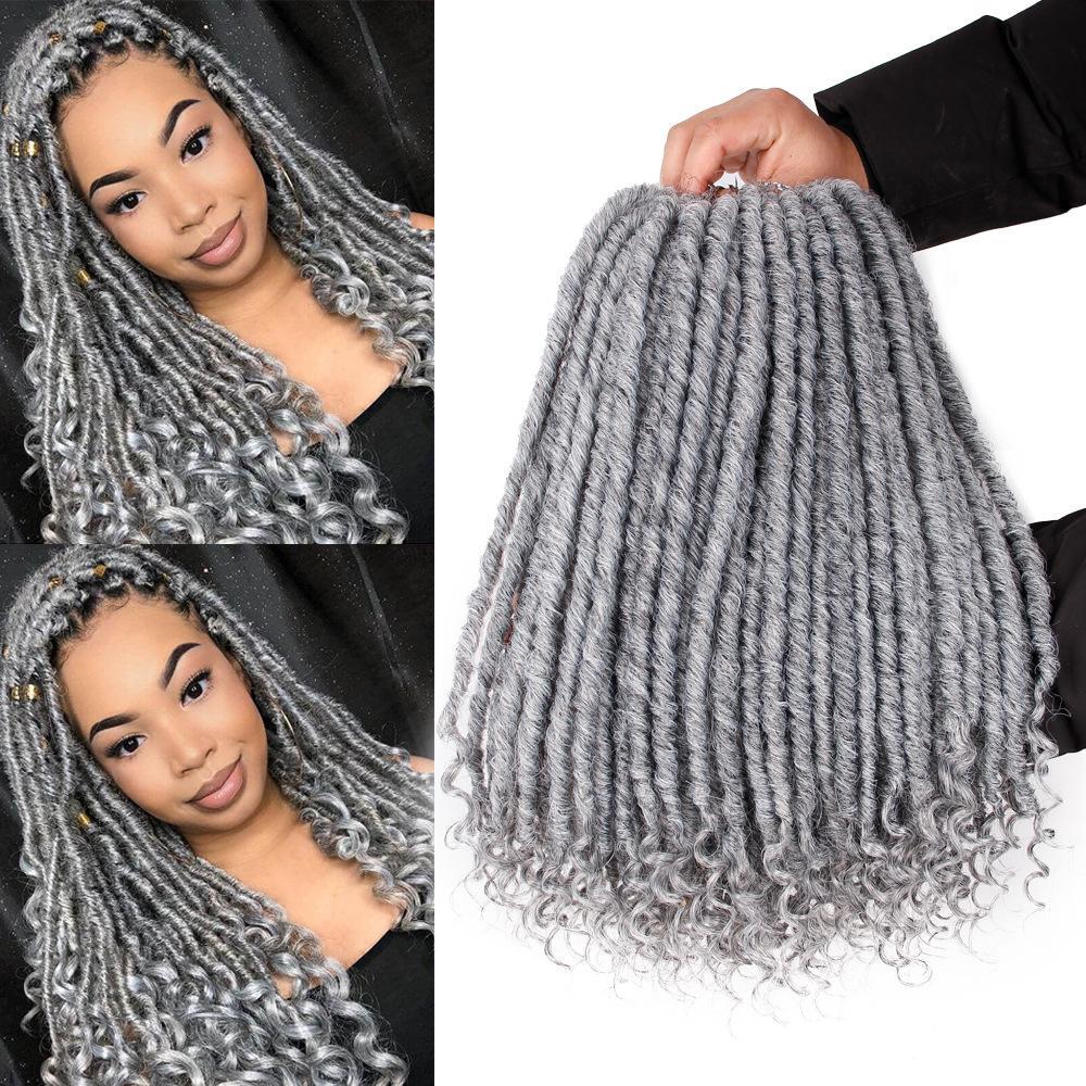 Tanrıça Saç Ombre Gri Sahte LOCS Dreads Crochet Örgü 16 / 20inch Yumuşak Doğal Örgü Sentetik Örgü Saç Uzantıları Gri 24 standlar / Paketi